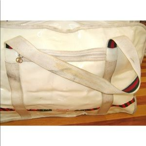 8ae11766d640 Gucci Bags | 1970s Large White Vinyl Tennis Bag Stripe | Poshmark